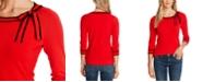 CeCe 3/4-Sleeve Bow Sweater