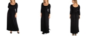 24seven Comfort Apparel Long Sleeve Pleated Maxi Plus Size Dress