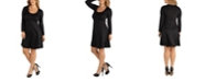 24seven Comfort Apparel Long Sleeve Flared Plus Size T-Shirt Dress