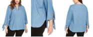 Michael Kors Plus Size Chambray Tie-Sleeve Top