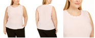 Kasper Plus Size Solid Scalloped Knit Top