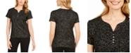 Karen Scott Glitter-Print Henley Top, Created for Macy's