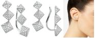Michael Kors Cubic Zirconia Triple-Pyramid Climber Earrings