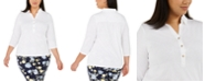 Charter Club Plus Size Cotton Polo Top, Created for Macy's