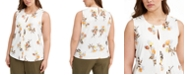 Calvin Klein Plus Size Floral-Print Keyhole Top
