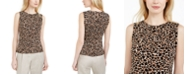 Calvin Klein Animal-Print Pleat-Neck Top