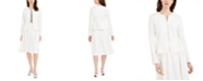Calvin Klein Scuba Zip-Front Cropped Jacket, Printed Pleated Top & Midi Skirt