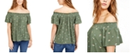 Self Esteem Juniors' Printed Smocked Off-The-Shoulder Top