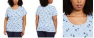 Karen Scott Plus Size Sailboat-Print T-Shirt, Created for Macy's