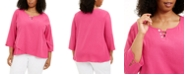 Alfred Dunner Plus Size Laguna Beach Cotton Button-Trim Top