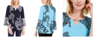 JM Collection Printed Ruffle-Sleeve Embellished Top, Created for Macy's