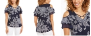 JM Collection Floral-Print Cold-Shoulder Top, Created for Macy's