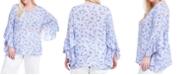 Fever Plus Size Floral-Print Flutter-Sleeve Top