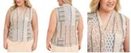 Calvin Klein Printed Pleated-Neck Blouse