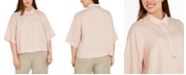 Eileen Fisher Plus Size Linen Button-Down Shirt