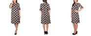 NY Collection Petite Geometric-Print Ruffle-Sleeve Sheath Dress