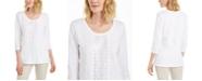 JM Collection Petite Cotton Sequin-Trim Top, Created for Macy's