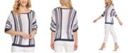 DKNY Striped Elbow-Sleeve Top