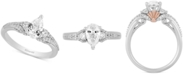 Enchanted Disney Fine Jewelry Enchanted Disney Diamond Pear-Cut Arial Engagement Ring (1 ct. t.w.) in 14k White & Rose Gold
