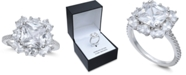 Macy's Cubic Zirconia Princess Cluster Statement Ring in Sterling Silver