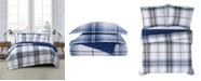 London Fog Nolan Houndstooth Stripe Comforter Collection