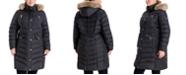 Michael Kors Plus Size Faux-Fur-Trim Hooded Puffer Coat