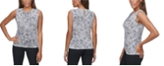 Calvin Klein Snake-Print Pleated-Neck Tank
