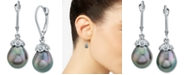 Macy's Cultured Tahitian Pearl (9mm) & Diamond Accent Drop Earrings In 14k White Gold