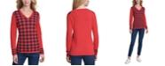 Tommy Hilfiger Ivy Plaid V-Neck Sweater