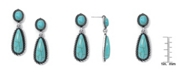 Macy's Simulated Turquoise in Silver Plated Drop Dangle Earrings