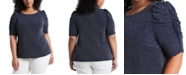 MSK Plus Size Caterpillar-Sleeve Sparkle Knit Top