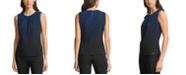 Calvin Klein Dot-Print Pleat-Neck Top