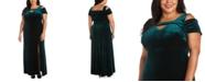 Nightway Plus Size Long Stretch Velvet Cold-Shoulder Dress