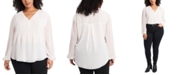 1.STATE Trendy Plus Size Pintucked Blouse