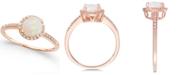 Macy's Opal (3/4 ct. t.w.) and Diamond (1/8 ct. t.w.) Ring in 14k Rose Gold