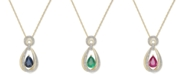 Macy's Sapphire (1-1/6 ct. t.w.) & Diamond (1/5 ct. t.w.) Teardrop Pendant Necklace in 14k Gold(Also Available in Ruby and Emerald)