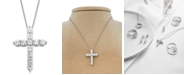 Macy's Star Signature Diamond Cross Pendant Necklace (1 ct. t.w.) in 14k Gold or White Gold