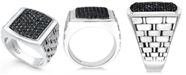 Macy's Men's Sterling Silver Ring, Black Sapphire Square (2 ct. t.w.)