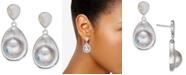 Macy's Mabé Blister Pearl (24 x 18mm, 10 x 8mm) Drop Earrings in Sterling Silver