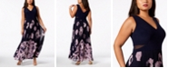 XSCAPE Plus Size Printed Pleated Gown