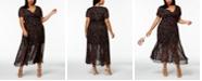 Betsey Johnson Plus Size Printed Deep-V Maxi Dress
