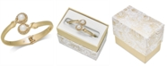 Charter Club Imitation Pearl & Pavé Bypass Hinged Bangle Bracelet, Created for Macy's