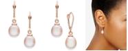 Macy's Pink Cultured Freshwater Pearl (8-1/2mm) Drop Earrings in 14k Rose Gold