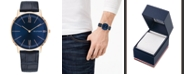 Tommy Hilfiger Men's Blue Leather Strap Watch 40mm Created for Macy's