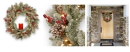 "National Tree Company 24"" Feel Real(R) Snowy Bristle Wreath with 50 Battery Operated Red Electronic Candle 9 Red Berries, 15 Cones with Remote Control & Timer-BAT- Pack 1"