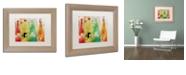 "Trademark Global Color Bakery 'Bouteilles' Matted Framed Art, 11"" x 14"""
