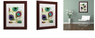 """Trademark Global Color Bakery 'Peacock Feathers I' Matted Framed Art, 11"""" x 14"""""""