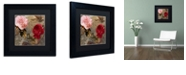 "Trademark Global Color Bakery 'Bird And Roses' Matted Framed Art, 11"" x 11"""