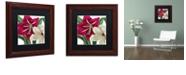 "Trademark Global Color Bakery 'Christmas Amaryllis I' Matted Framed Art, 11"" x 11"""