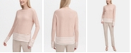 Calvin Klein Striped-Hem Crewneck Sweater